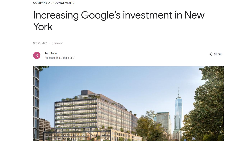 """谷歌斥资21亿美元在曼哈顿买房 刷新美国疫情后""""楼王""""纪录"""